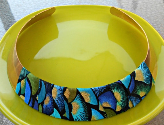 Teal Black and Gold Tribal Collar Necklace