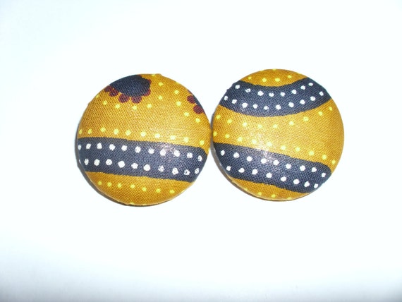 Striped and Dotted Button Earrings