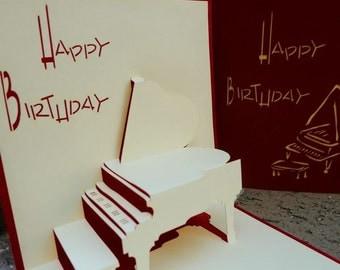 Birthday piano,POP UP CARD
