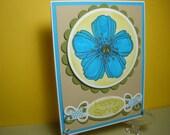Happy Spring Card, Aqua/Green