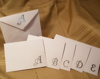 Monogrammed Blank Note Cards, Embossed