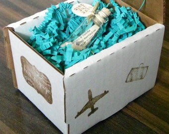 aqua / teal / turquoise SAVE THE DATE message bottles with or without white, tan, or custom stamped shipping box