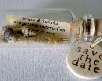 SAVE THE DATE Magnets mini message bottle sold in lots of 12 or more