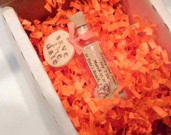 Orange SAVE THE DATE message bottles with or without white, tan, or custom stamped shipping box