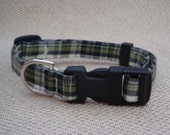 Plaid Navy Blue, Green and White Size Medium Adjustable Dog Collar