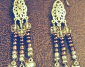tribal fusion silver earrings with bells
