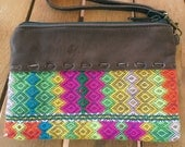 50% OFF Tribal Zipper Purse, Embroidered  Textiles, Leather, Removable Leather Strap