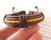50% OFF Leather Cuff Bracelet , Leather & Hemp Bracelet,Genuine Leather,Friendship Bracelet