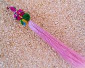Tribal Pompom Bag Charm with Silk Tassel - Colored beads,Pompoms,Friendship Gift