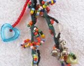 Beaded Handbag Charm, Purse Charm,Beaded Zipper Pull - Multi Colored Beads and Stones,Romantic,Friendship Gift