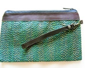 50% OFF Zipper Pouch,Cosmetic Bag with Removable Leather Wristlet Strap - Forest Green