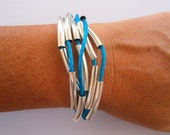 Wrap Bracelet Cuff with Silver Tubing in Turquoise  Friendship Handmade