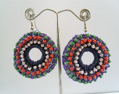 Crocheted Hoops with Colored Beading Detail,  Fan Design Gypsy Hippie