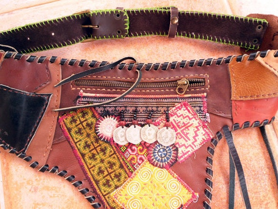 50% OFF Handmade Leather Hip Bag with Ethnic Features - Unique,OOAK