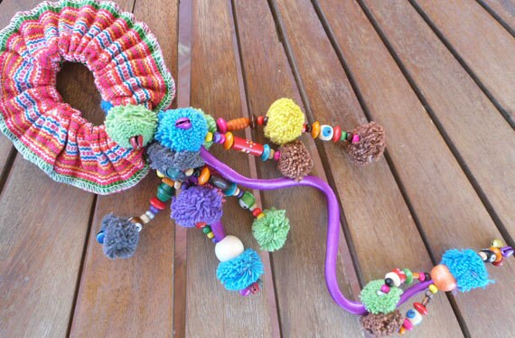 Rainbow Pompom Hair Scrunchies with Beads ,Hmong Fabric Scrunchies,Hippie, Boho Chic - Wholesale Available
