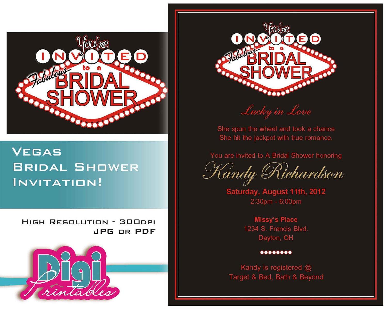 Free Wedding Shower Invitations: Bridal Shower Invitation Las Vegas Digital Download DIY