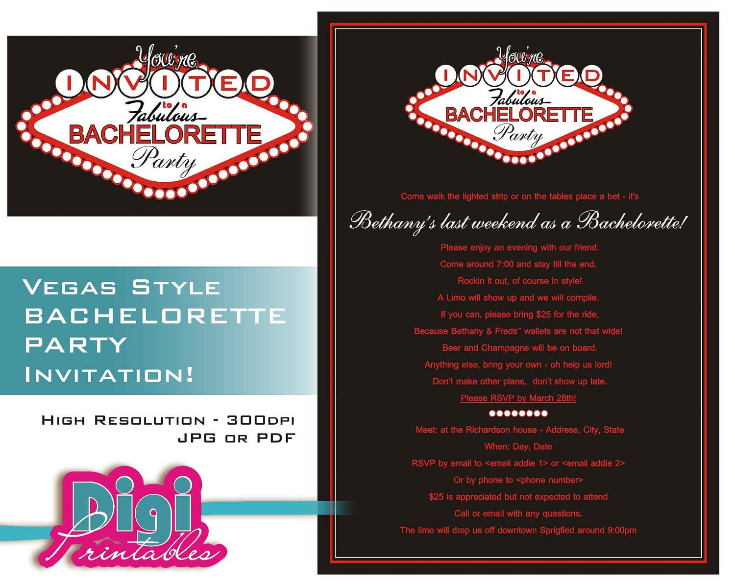 Bachelorette Party Invitation Las Vegas Digital Download