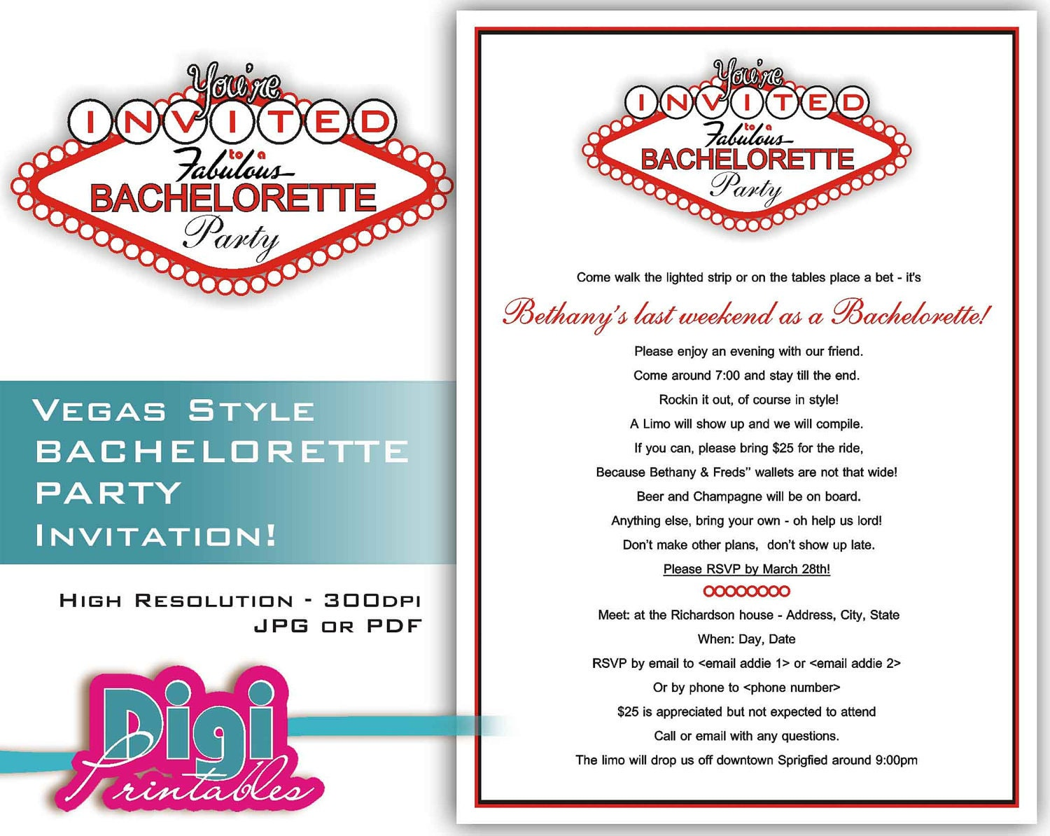 Bachelorette Party Invitation Las Vegas Digital Download – Bachelor Party Email Invite