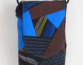 Bag for cell phone- small, fabric, patchwork blue brown black  with long strap