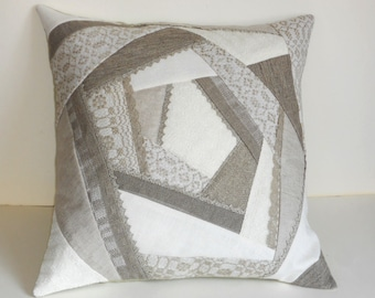Throw  pillow cover natural linen grey gray patchwork quilt cushion case 20 x 20