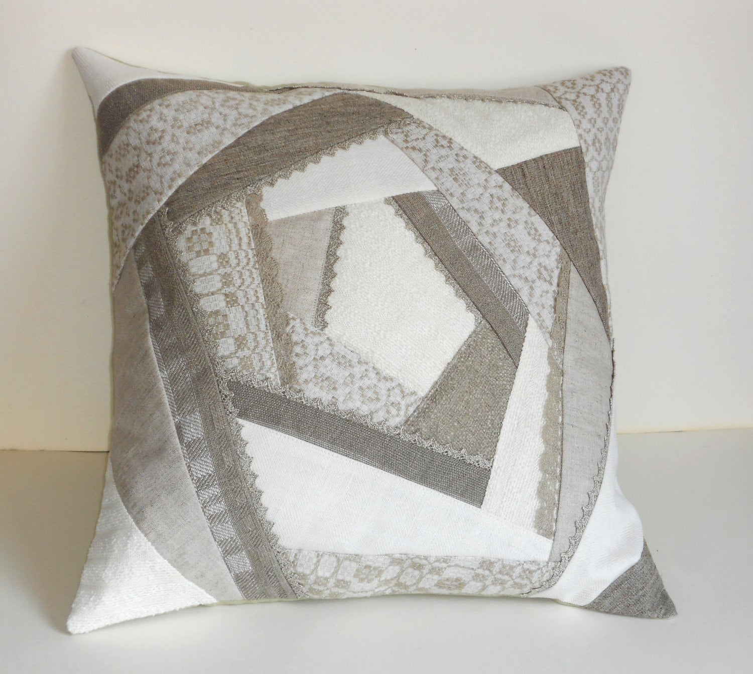 Throw pillow cover natural linen grey gray patchwork quilt