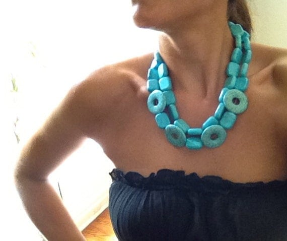 SALE 40% off The Madge - bold turquoise statement necklace