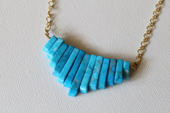 Caribbean Blue necklace - brilliant turquoise blue howlite bib necklace