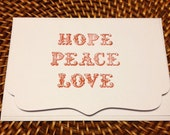 hand-stamped greeting cards (set of four) with envelopes
