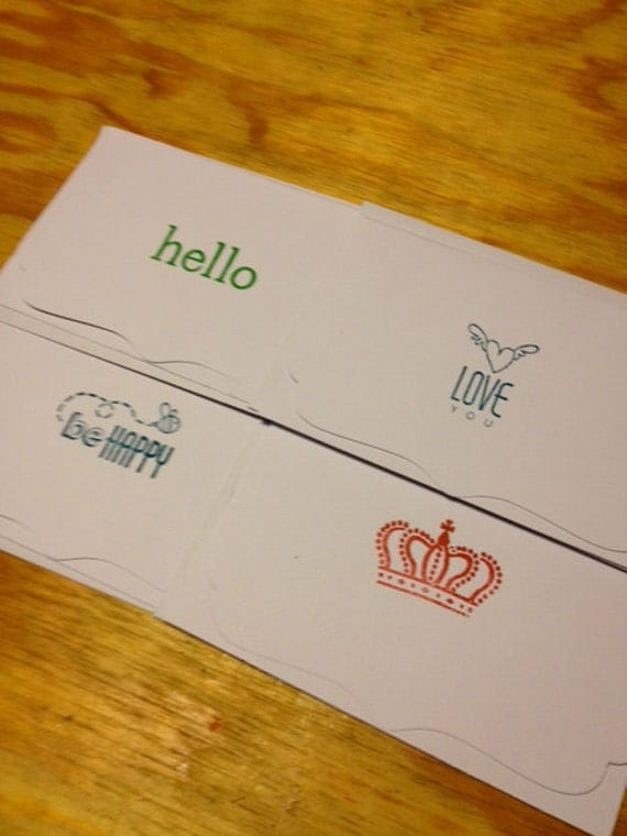 hand-stamped greeting cards with envelopes (set of four)