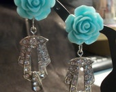 Prada Spring 2012 Inspired Mint Rose Earrings- Now available in either pierced or clip styles