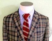 Vintage Men's Early 1960's Madras Plaid Style Wash & Wear 3/2 Sack Jacket Sport Coat Cape Cod Clothing -- 43