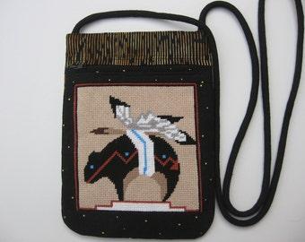 Southwestern bear needlepoint small crossbody bag or shoulder purse sling bag hipster small travel bag