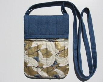 small crossbody bag or shoulder purse handmade sling bag hipster small travel bag metallic gold Asian cranes