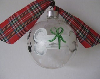 Dog Bone Glass Ornament