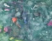 Abstract  Original Watercolor orange green