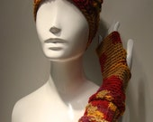 Clearance Red, Tan, and Yellow Multicolor Beanie and Fingerless Glove Set