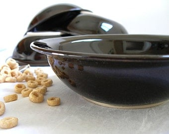 Pottery Bowls Cereal Soup Pasta bowls set of 4 in Black