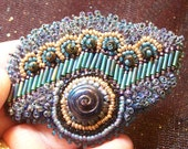 Bead embroidered brooch, beaded lapel pin, beaded pin, bead embroidery jewelry