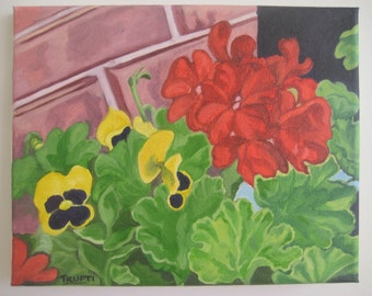 ORIGINAL Oil Painting-Geraniums and Pansies Art by Trupti