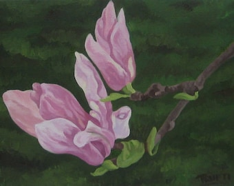ORIGINAL Oil Painting-Spring Magnolia-tryptic Art by Trupti