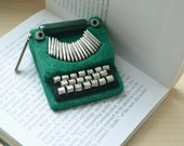 RESERVED for Lizzie - Green Typewriter Brooch