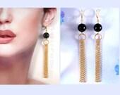 Tassel Chain Earrings, Extra Long Earrings, Gold, Black Onyx, Leverbacks