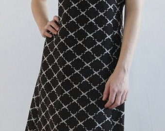 Mod 60s Vintage Brown and White Shift Dress