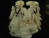 Conjoined twins - skully doll - mink skulls, porcelain
