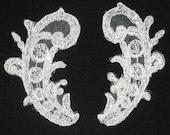 Pair White Floral Lace Appliques, paisley shape