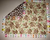Large ribbon loop blanket - cute monkeys on yellow, brown & white polka dots - READY TO SHIP