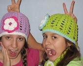 Flower Beanie Hat. Summer hat in cotton for child.