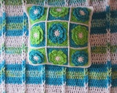 MODERN  BLANKET / PILLOW Set. Large and Cozy Modern blanket in aqua colors.