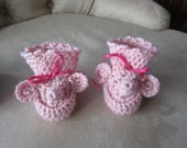 Pink Elephant Baby Booties. Made to order.