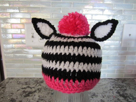 Zebra hat for baby. On sale.